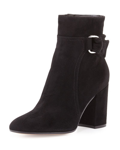 Suede 85mm Block-Heel Boot, Black