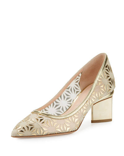 Prism Laser-Cut 55mm Pump, Nude/Gold