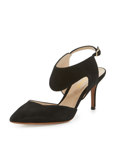 Leda Suede Cutout Pump, Black