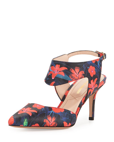 Leda Floral-Print Leather Cutout Pump, Poppy Red