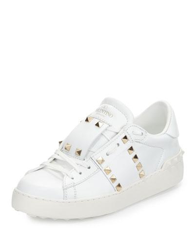 Rockstud Leather Low-Top Sneaker, White (Bianco)