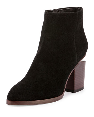 Gabi Suede Lift-Heel Ankle Boot, Black