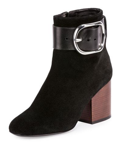 Kenze Suede Buckle Boot, Black