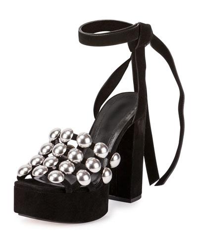 Alys Studded Platform Sandal, Black