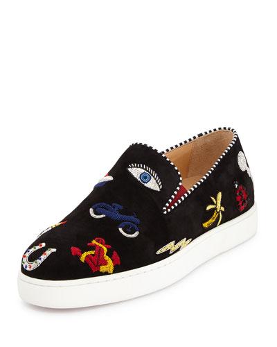 Pik N Luck Flat Suede Red Sole Sneaker, Black