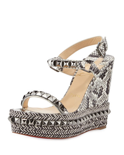 Cataclou Studded Snakeskin Red Sole Wedge Sandal, Roccia/Gunmetal