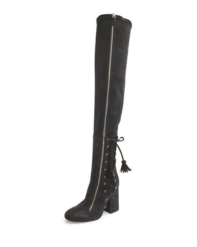 Maren Side-Lace Tall Boot, Black