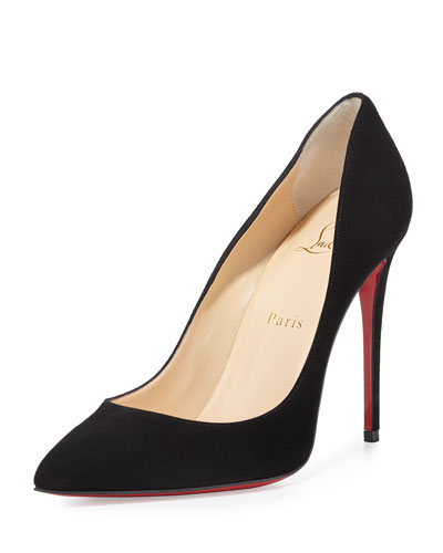 Pigalle Follies Suede Red Sole Pump, Black