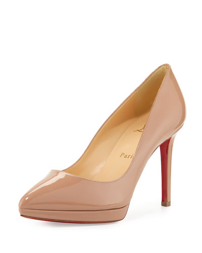 Pigalle Plato Patent Red Sole Pump, Nude