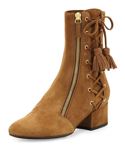 Marcella Side-Zip Lace-Up Suede Boot, Tan