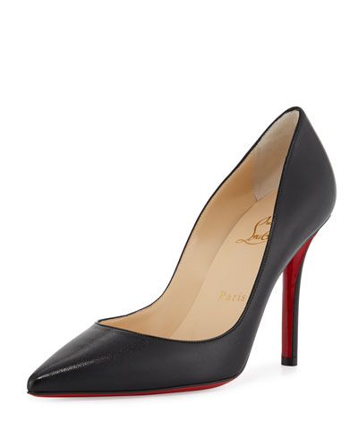 Apostrophe Leather 100mm Red Sole Pump, Black