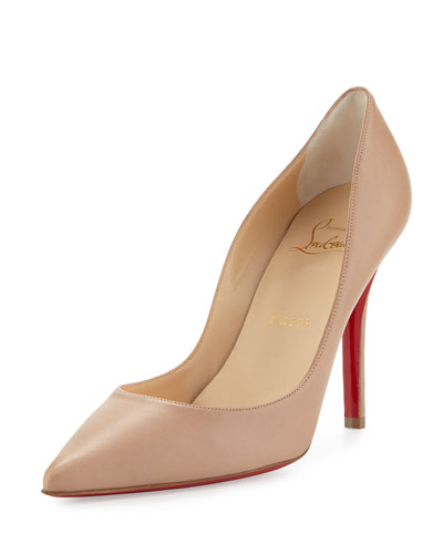 Apostrophy Pointed Red-Sole Pump, Nude