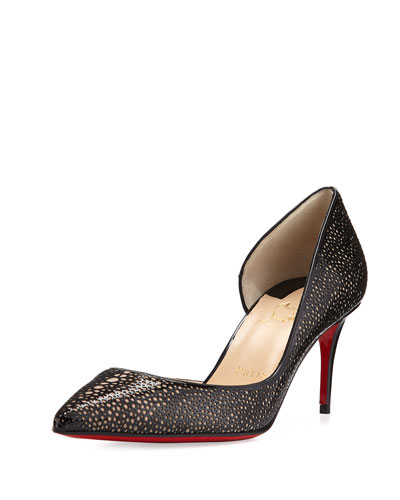 Galupump Laser-Cut Red Sole Pump, Black/Nude