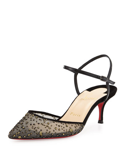 Glittered Mesh 55mm Red Sole Pump, Black