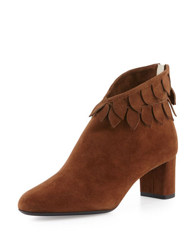 Luisella Leaves Suede Ankle Boot, Cigar