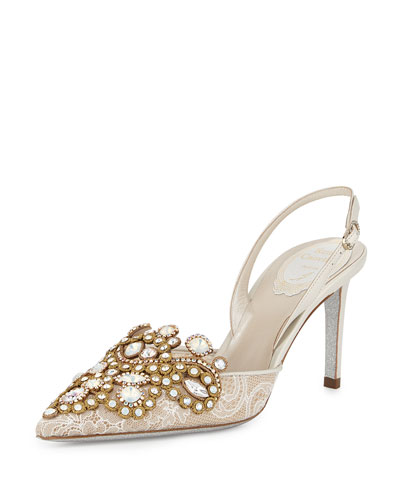 Jeweled Lace & Leather Halter Pump, White/Gold