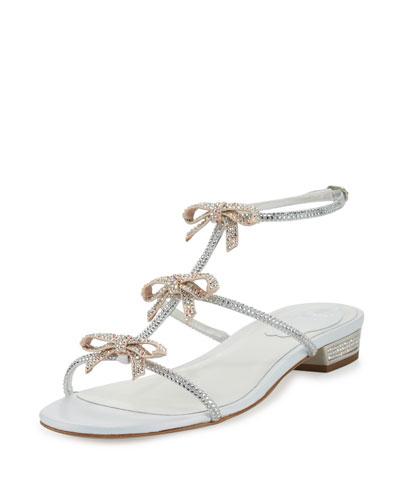 Crystal Bow-Embellished T-Strap Flat Sandal, White