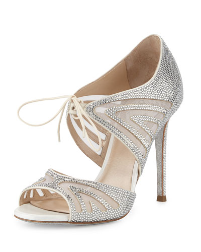 Crystal-Embellished Two-Piece 105mm Pump, White