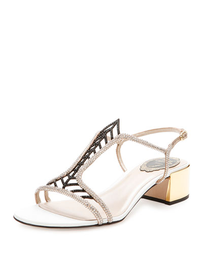 Jewel-Embellished Block-Heel Sandal, Beige/Black