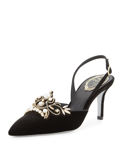 Pearly Velvet 70mm Slingback Pump, Black