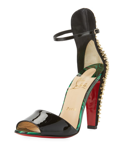 Tropanita Spiked Red Sole Sandal, Black