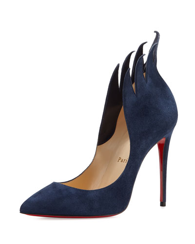 Victorina Flame Suede 100mm Red Sole Pump, Night