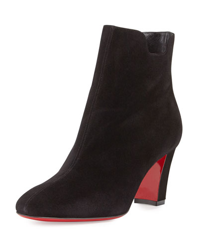 Tiagadaboot Suede 70mm Red Sole Bootie, Black