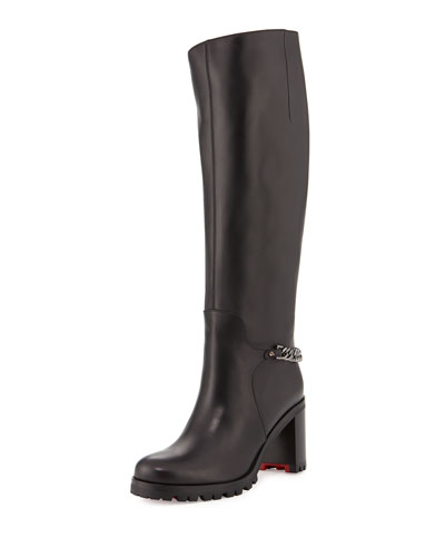 Napoleo Leather 70mm Red Sole Knee Boot w/ Chain, Black/Dark Gunmetal