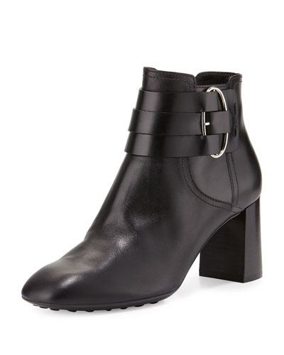 Leather Buckle-Strap Ankle Boot, Black