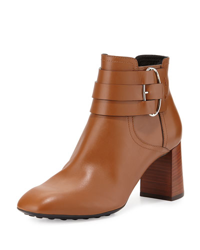 Leather Buckle-Strap Ankle Boot, Cognac