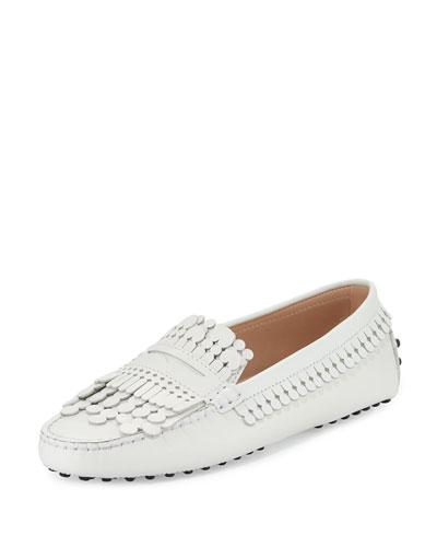 Gommini Heaven Fringe Loafer, White