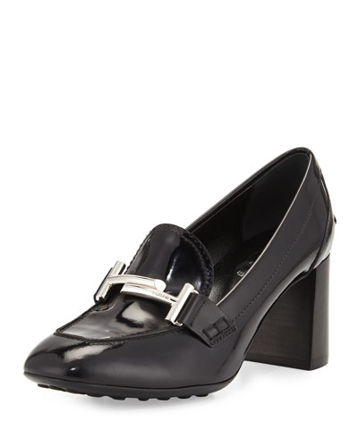 Patent Leather Loafer Pump w/Driving Sole, Black