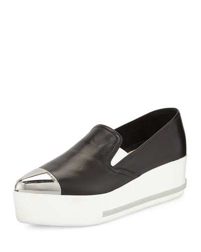 Leather Cap-Toe Platform Sneaker
