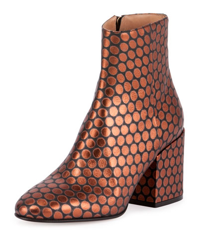 Circle-Print Leather 80mm Boot, Black/Orange