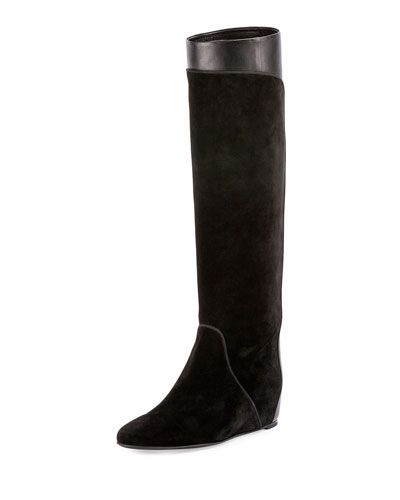 Suede & Leather Hidden-Wedge Tall Boot, Black
