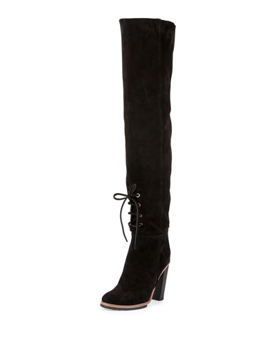 Suede Lace-Front 100mm Tall Boot, Black