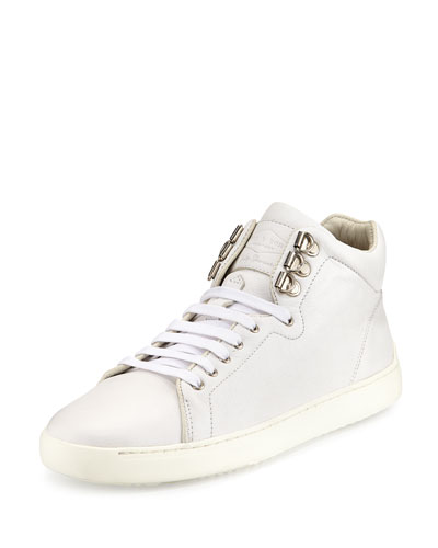 Kent Leather High-Top Sneaker, White