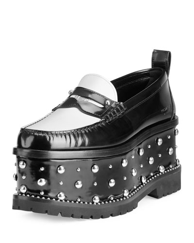 Cambridge Studded Platform Loafer, Black