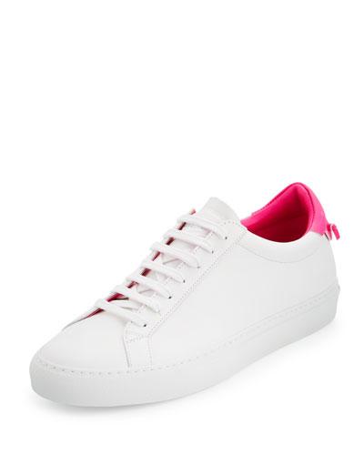 Devon Leather Low-Top Sneaker, White/Pink