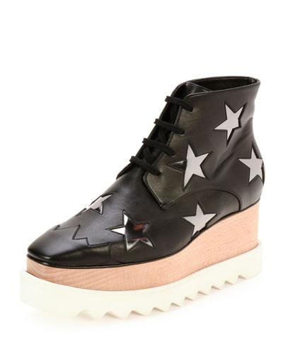 Elyse Stars Faux-Leather Platform Boot, Black/Zinc