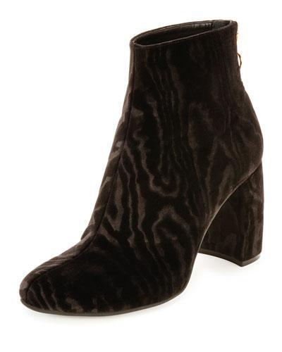 Textured Velvet Block-Heel Boot, Black