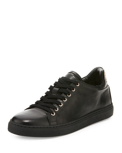 Bibi Butterfly Leather Low-Top Sneaker, Black