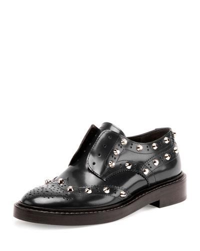 Leather Brogue Oxford Flat, Black (Noir)
