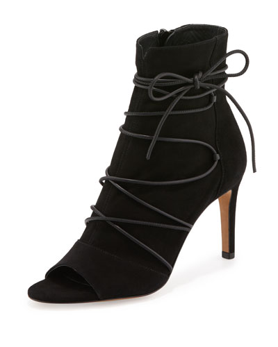 Adisa Lace-Up Open-Toe Ankle Boot, Black
