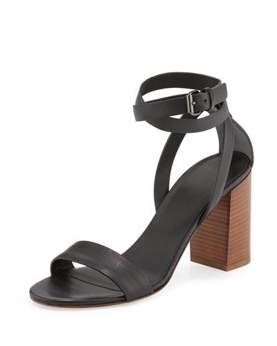 Farley Ankle-Wrap Block-Heel Sandal, Black