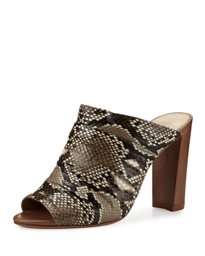 Python 90mm Mule Sandal, Natural/Cameo