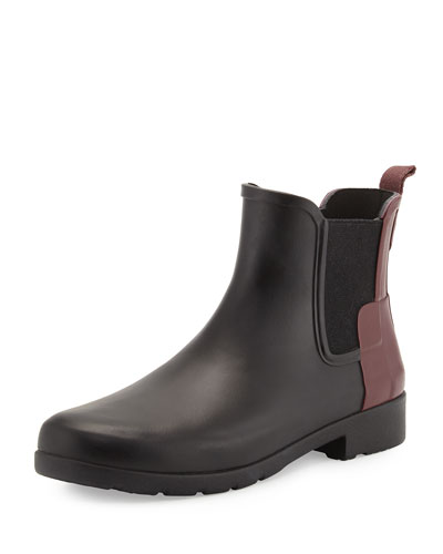 Original Refined Colorblock Chelsea Rain Boot, Black/Dulse