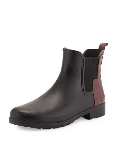 Original Refined Colorblock Chelsea Rain Boot, Black/Dulse