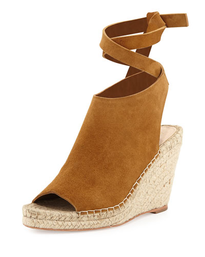 Lyra Suede Ankle-Wrap Espadrille Sandal, Sienna