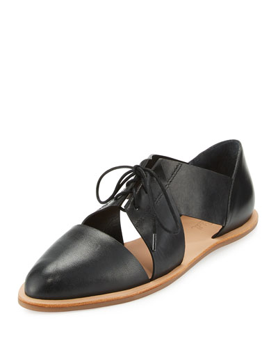 Willa Cutout Leather Oxford, Black